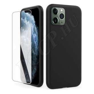 Apple iPhone 11 védőszett (fekete szilikon hátlap + üveg kijelzővédő fólia)