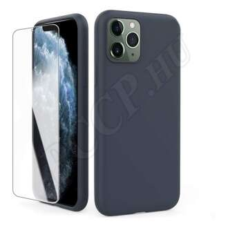 Apple iPhone 11 védőszett (sötétkék szilikon hátlap + üveg kijelzővédő fólia)