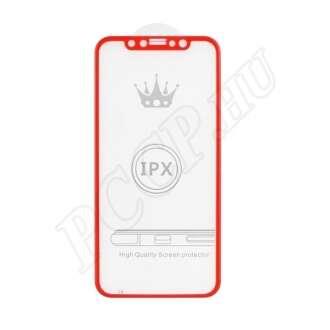 Apple iPhone X hajlított üveg kijelzővédő fólia piros színben