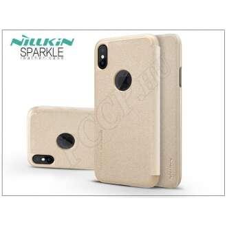 Apple Iphone X arany oldalra nyíló flip tok