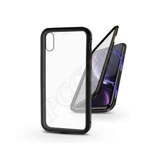Apple Iphone XR fekete mágneses 2 részes hátlap előlapi üveggel