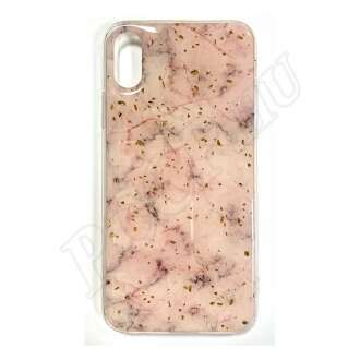 Apple iPhone Xs Max rózsaszín márványos szilikon hátlap