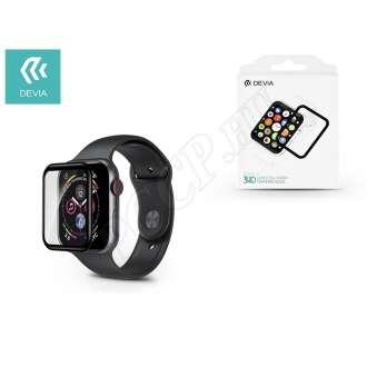 Apple Watch 4 (44mm) üveg kijelzővédő fólia fekete színben