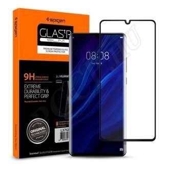Huawei P30 Pro hajlított üveg kijelzővédő fólia fekete színben
