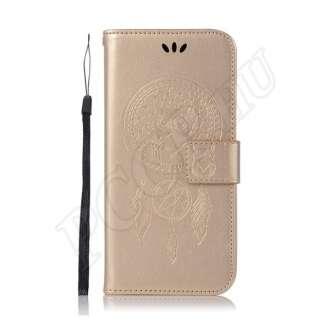 Huawei P9 Lite arany baglyos álomfogó mintás flip tok
