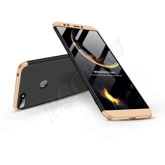 Huawei Y6 (2018) fekete/arany három részből álló védőtok