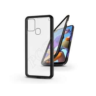 Samsung Galaxy A21S fekete mágneses 2 részes hátlap előlapi üveggel