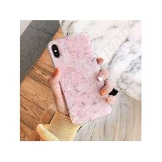 Samsung Galaxy A7 (2018) rózsaszín márványos szilikon hátlap