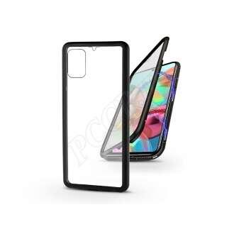 Samsung Galaxy A71 fekete mágneses 2 részes hátlap előlapi üveggel