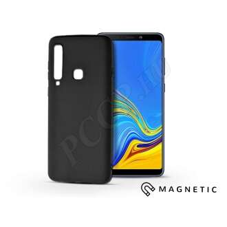 Samsung Galaxy A9 (2018) fekete szilikon hátlap beépített fémlappal