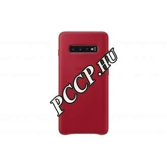 Samsung Galaxy S10 Plus piros bőr hátlap