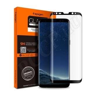 Samsung Galaxy S9 Plus hajlított kijelzővédő fólia fekete színben