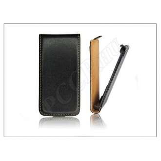 Huawei Ascend Y210D fekete bőr flip tok