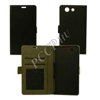 Sony Xperia E5 fekete flip oldalra nyíló tok