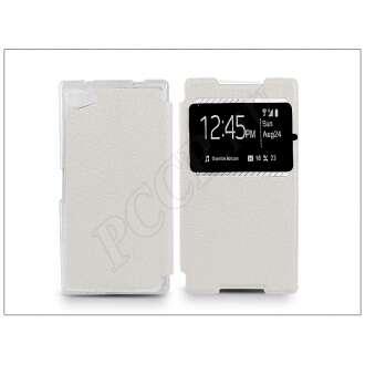 Sony Xperia Z5 Compact (E5803) fehér oldalra nyíló flip tok