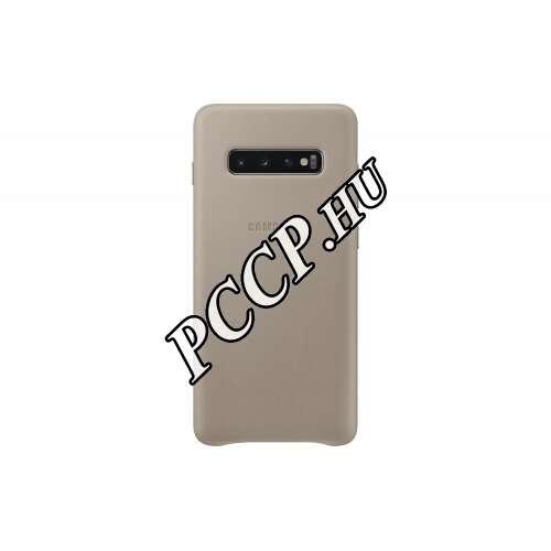 Samsung Galaxy S10 Plus szürke bőr hátlap